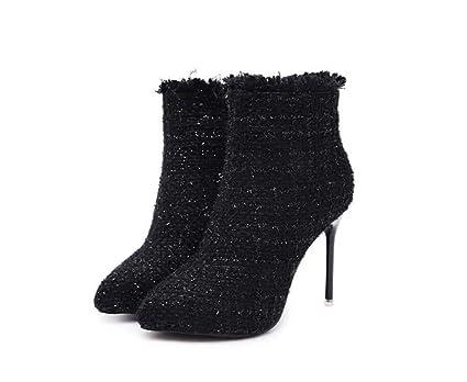 Mujeres Tobillo Botín Puntiagudos Toe 11Cm Vestido De Aguja Botas Zapatos De Boda Rebabas Bling Corte