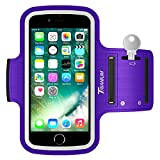 Trianium Armband for Smaller Phone Sport Running Pouch Case Fit Phone Diagonal Size up to 5.85' for iPhone X 8 7 6s 6, iPhone SE 5S 5 5C, Galaxy s9 s8 s7 s6 s5 [ArmTrek Classic Purple]