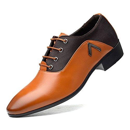 Color Scarpe BMD giubbotto Nero Dimensione in Tacco stringate Scarpe pelle di da traspirante PU cerniera Oxford Orange pelle uomo nero con Shoes EU 41 HISqU