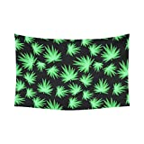 Interestprint Green Leaf Glow in the Dark Marijuana Tapestry Horizontal Wall Hanging Blacklight Pattern Repeat Wall Decor Art for Living Room Bedroom Dorm Cotton Linen Decoration 90 X 60 Inches