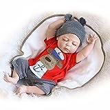 Galaxydoll Lifelike Newborn Baby Doll Full Silicone Body Fake Sleeping Boy Doll 23-Inch for Mommy Kids Nursery Training