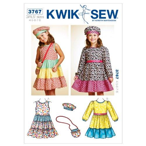 Kwik Sew K3767 Dresses Sewing Pattern, Hat and Bag