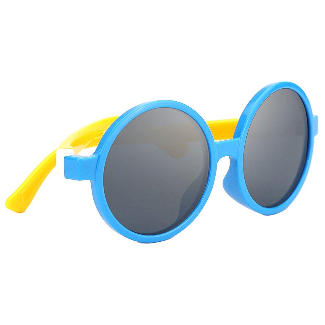 TIJN Kids Toddler Flexiable Rubber Polarized Round Sunglasses for Girl Boys 10022003
