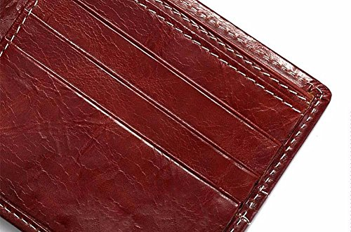 gules bag pocket Men's Leather wallet money open pocket Mini LIGYM n6qawvzUU