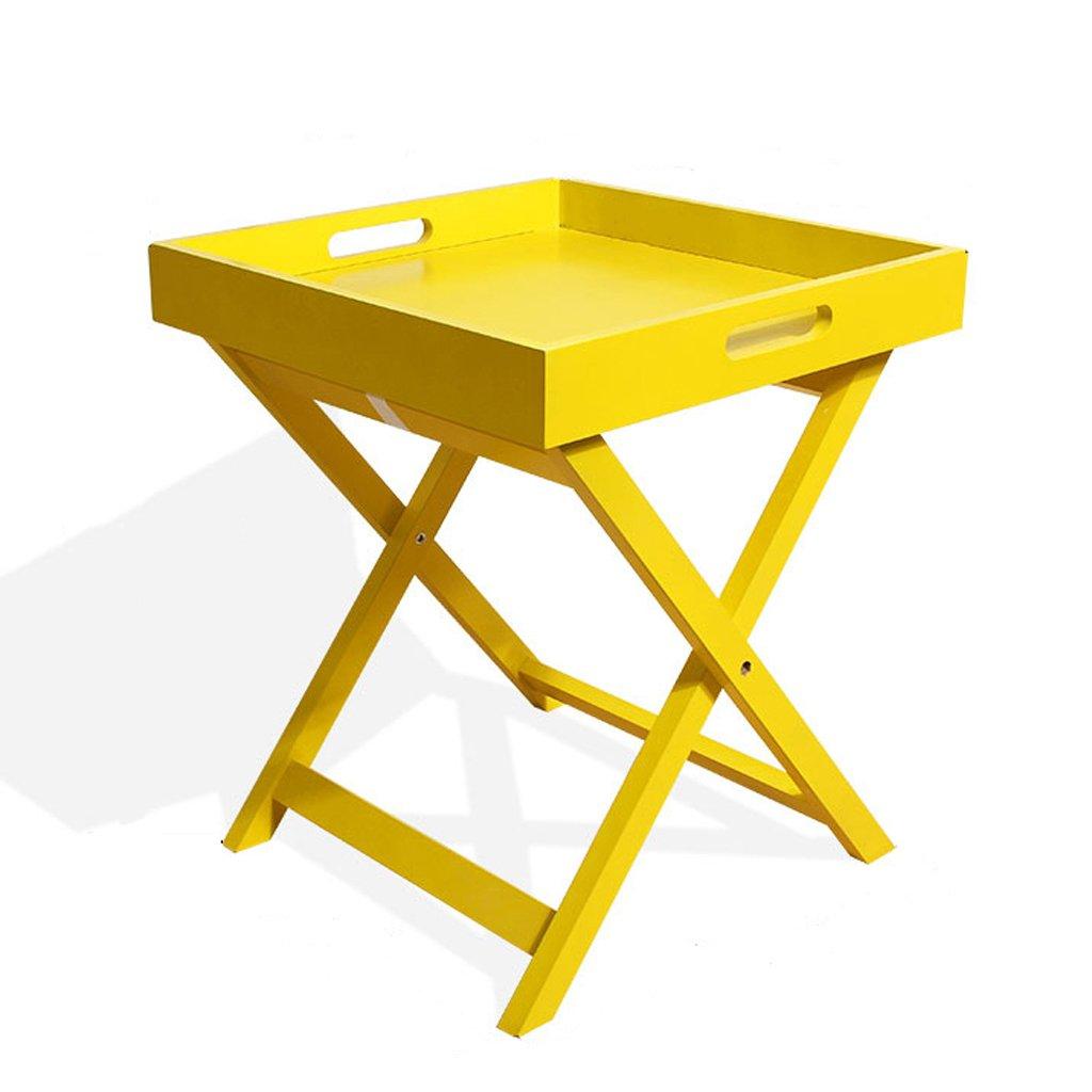 LANA 木製折りたたみコーヒーテーブル、多機能スクエア小さなダイニングテーブルのリビングルームのソファーテーブルの寝室の机収納テーブルポータブル屋外ガーデンテーブル、40×40×46.5センチ (色 : 黄) B07SCQQMV9 黄