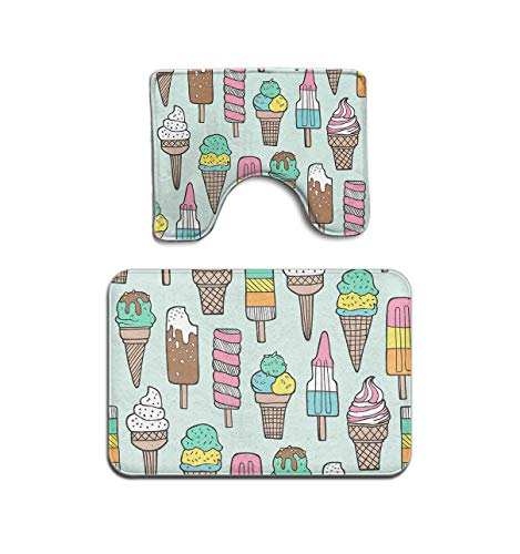 MAHENSHANGM Summer Ice Cream Popsicle Mint 2 Piece Bathroom Mat Set Pedestal Rug Bath Mat Rug Non Slip ()
