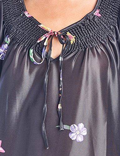 Casual Nights Women's Round Neck Mu-Mu Housecoat Lounger - Black - XX-Large by Casual Nights (Image #4)