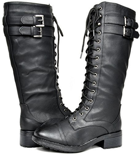 DREAM PAIRS Women's Georgia Black Faux Leather Pu Knee High Riding Combat Boots - 11 M US