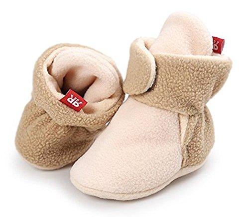 Unisex Baby Vlies Gefüttert Booties Weich Warm Krippe Slipper Zuerst Kinderwagen Schuhe Khaki2