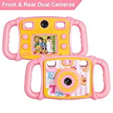 """Prograce Kids Camera Dual Selfie Camera 1080P HD Video Recorder Digital Action Camera Camcorder for Boys Girls Gifts 2.0"""" LCD Screen with 4X Digital Zoom and Funny Game(Pink)"""