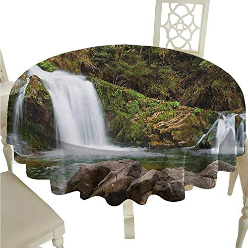 Zodel Oil-Proof and Leak-Proof Tablecloth Waterfall Photo of Mother and Baby Waterfalls by The Mountain Side with Moss on Rocks Soft and Smooth Surface D70 Suitable for picnics,queuing,Family