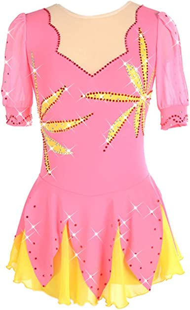 Ice Figure Skating Dress For Girls Ladies Long-sleeved Beaded Roller Skating Skirt Leaf Pattern Pink And Yellow
