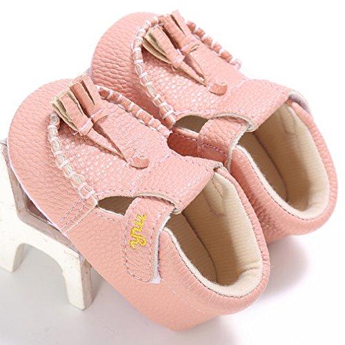 EOZY Baby Unisex Krabbelschuhe Lauflernschuhe Lederschuhe Taufschuhe Pink