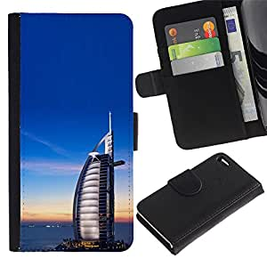 UberTech / Apple Iphone 4 / 4S / Dubai Burfi Al Arab Arabic Architecture / Cuero PU Delgado caso Billetera cubierta Shell Armor Funda Case Cover Wallet Credit Card