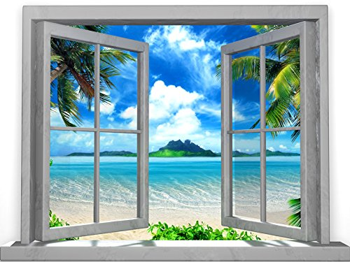 JP London Peel and Stick Removable Wall Decal Sticker Mural, Paradise Beach Solitude Oasis Tropical Window, 24 by 18-Inch
