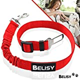 Dog Safety Seat Belt for Car by BELISY – Adjustable Length (60-80cm) for Maximum Comfort with Tear-Resistant Nylon Belt and Elastic Tug Dampening Feature – Suitable for all Types of Dogs - Red