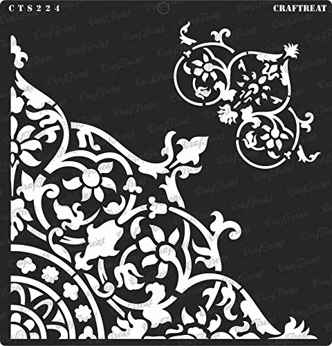 CrafTreat Stencil - Flourish Corner - Reusable Painting Template for Home Decor, Crafting, DIY Albums, Scrapbook, Decoration and Printing on Paper, Floor, Wall, Tile, Fabric, Wood 12x12 inches