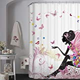 kids bathroom ideas  72 X 72 Inch Trendy Pink Flower Fairy Girl with Butterfly Bathroom Curtain Ideas-White Background Heavy-Duty Fabric Shower Curtains