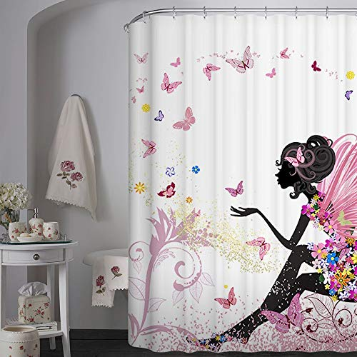 72 X 72 Inch Trendy Pink Flower Fairy Girl with Butterfly Bathroom Curtain Ideas-White Background Heavy-Duty Fabric Shower Curtains