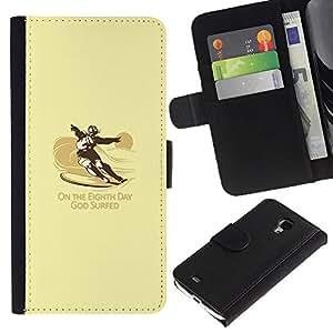 KLONGSHOP // Tirón de la caja Cartera de cuero con ranuras para tarjetas - Dios Practicado surf divertido Surf - Samsung Galaxy S4 Mini i9190 //