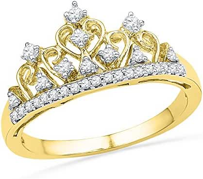 10kt Yellow Gold Womens Round Diamond Tiara Crown Band Ring 1/5 Cttw = 0.2 Cttw ( I2-I3 clarity; J-K color )