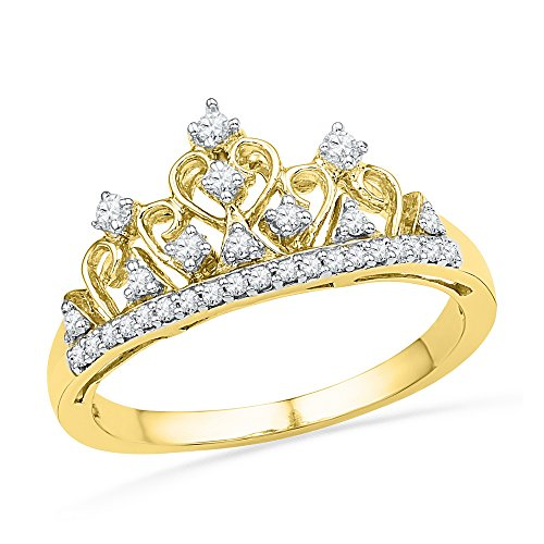 Jewels By Lux 10kt Yellow Gold Womens Round Diamond Tiara Crown Band Ring 1/5 Cttw Ring Size 8