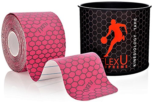 FlexU Supreme; Pink Kinesiology Tape; Pre-Cut 1 Roll Pack; Therapeutic Recovery Sports Tape; Advanced Strength & Flexibility Properties; Longer Lasting; Professional Grade