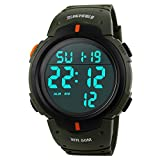 TONSHEN Men's Diaital Electronic Waterproof Sport Watch LED Electronic Multifunction 12H/24H Military Time 164FT 50M Water Resistant Date Casual Wristwatches - Green