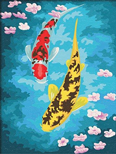 LoveTheFamily 数字油絵 数字キット塗り絵 手塗り DIY絵 デジタル油絵 着色された魚 30x40cm ホーム オフィス装飾
