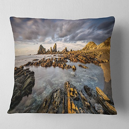 Designart CU9230-18-18 Atlantic Coast in Spain' Seashore Photography Throw Cushion Pillow Cover for Living Room, Sofa, 18 in. x 18 in. by Designart