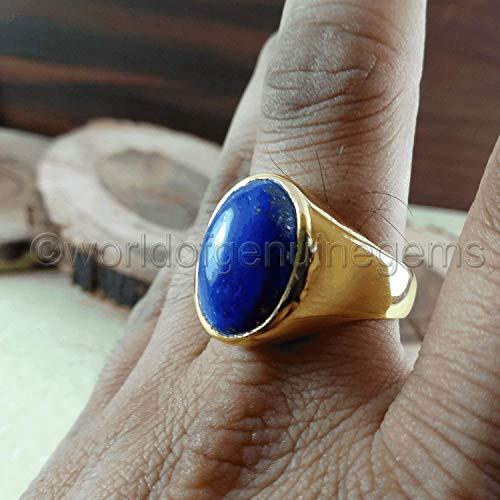 - lapis lazuli ring, yellow gold ring, 925 sterling silver, lapis lazuli men's ring, lapis wedding gift ring, lapis men engagement ring, anniversary gift ring, metaphysical ring, birthstone of september