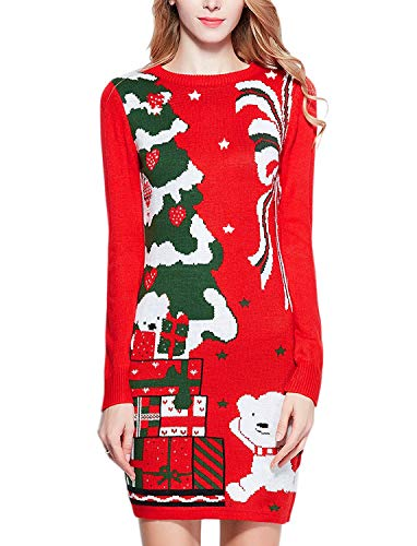 v28 Ugly Christmas Sweater for Women Vintage Funny Merry Knit Sweaters Dress (M, Bear Red)