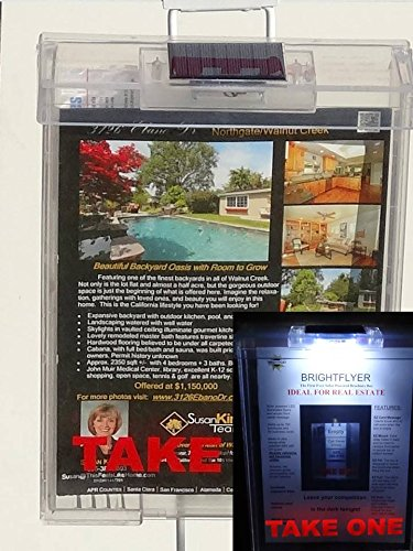 Clear BrightFlyer Solar Lit Brochure Box Flyer Box Literature Despenser Info Box Realtor box Real Estate Info Sheet Despenser