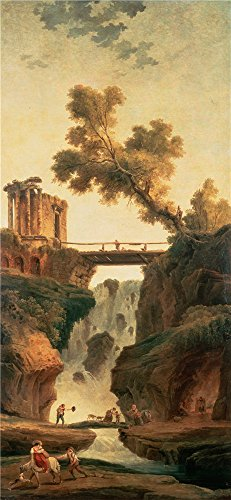Oil Painting 'Robert, Hubert_1785_Landscape With A Waterfall' 16 x 35 inch / 41 x 88 cm , on High Definition HD canvas prints is for Gifts And Bed Room, Kitchen (Halloween Talking Flashcards)
