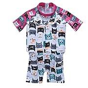 ZYZF Kids Girls Boys One Piece Short Sleeves Buoyancy Swimsuit Swimwear flotation Swimming Trainer