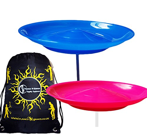 2x Spinning Plate Set (Blue/Pink) CLASSIC Circus Spinning Plates + 2-Piece Plastic Sticks + Flames N Games Travel Bag! Great fun for Kids & Adults.