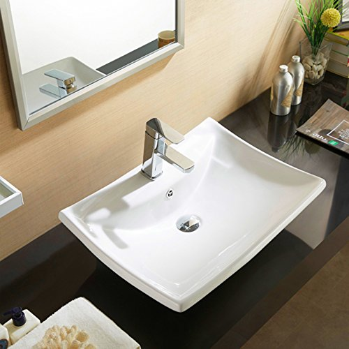 Vessel Vanity Sink - Mecor Porcelain Ceramic Vessel Vanity Sink Bowl with Pop Up Drain