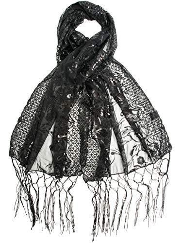 Bohomonde, Amaryllis Shawl, Sequin Evening Wrap, Embroidered Sequin Shawl (Black/Black)