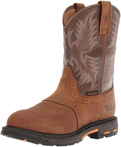 (Ariat Men's Workhog Pull-on Waterproof Pro Work Boot, Aged Bark/Army Green, 9.5 2E US)