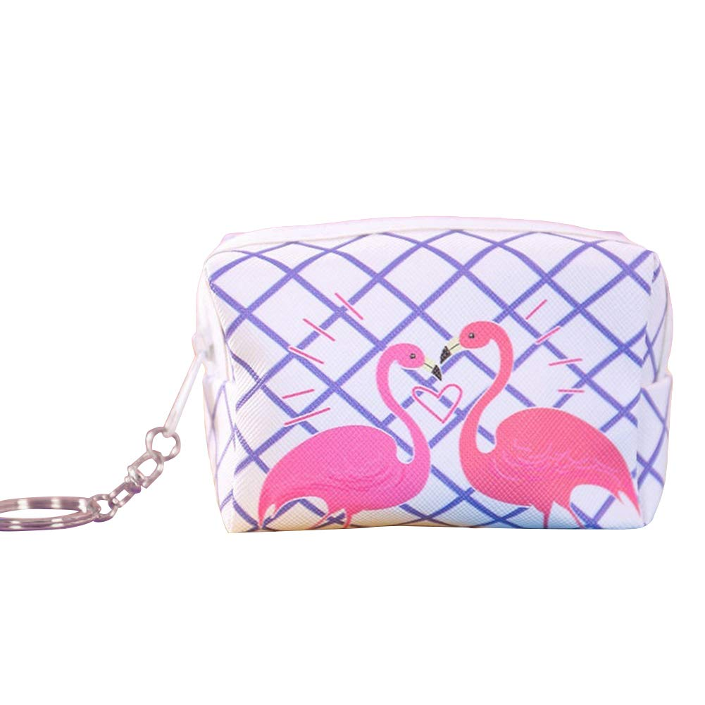 Yamalans Cartoon Flamingo Coin Purse, Women Girl's Faux Leather Mini Zipper Wallet with Keyring 1#