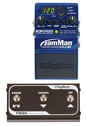 Tech Tools Download - DigiTech JamMan Solo XT Stereo Looping Compact Guitar Pedal Bundle with DigiTech FS3X Standard 3-Button Footswitch