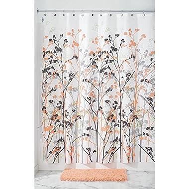 InterDesign Freesia Shower Curtain, 72 x 72-Inch, Coral-Gray