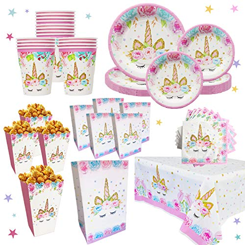 Unicorn Party Supplies Set for 16 | Plates, Cups,Table Cloth, Napkins, Popcorn Boxes and Gift Bags Kit | Diposable Tableware | Magical Decorations for Girls or Kid's Birthday Parties, Baby shower by Bestus ()