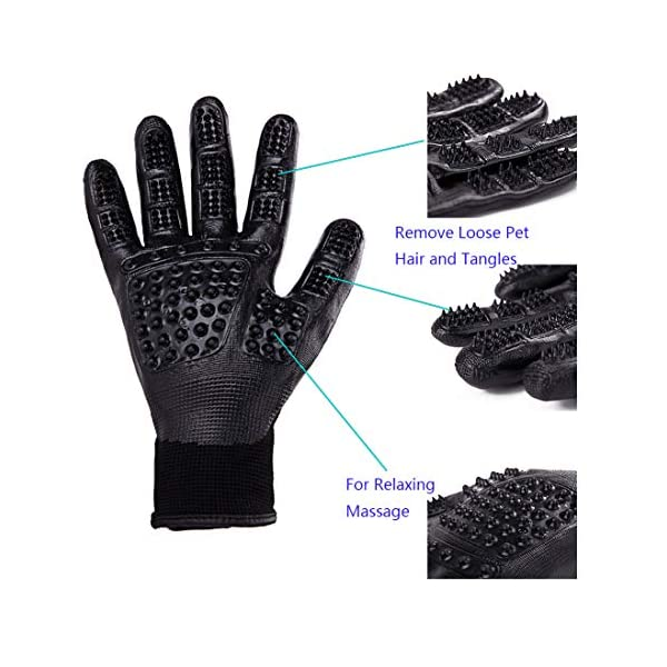 Pet Grooming Massage Gloves with Enhanced Five Finger Design,Gentle Washing DeShedding Brush Tool for Small,Medium,Large Dogs and Cats with Long or Short Hair (1 Pair(Black)) 2