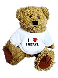 Oso de peluche con Amo Sheryl en la camiseta (nombre de pila/apellido/apodo)