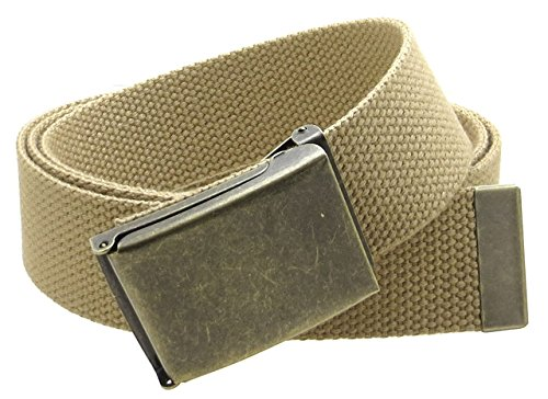 [Canvas Web Belt Flip-Top Antique Brass Buckle/Tip Solid Color 50