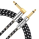 Guitar Cable 10 Feet Braided TS Mono Instrument AMP Cord 1/4 Right Angle to Straight Jack with Gold Plugs for Bass and Keyboard Black White Tweed,AIHIKO