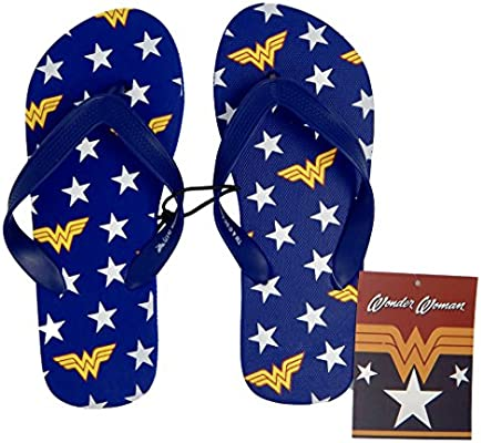 b169d1ebbe1c6 DC Comics Wonder Woman Unisex Flip Flops (Medium) Navy: Amazon.com