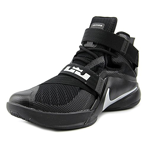 NIKE Mens Lebron Soldier IX Basketball Shoe (10 D(M) US, Black/Metallic Silver)