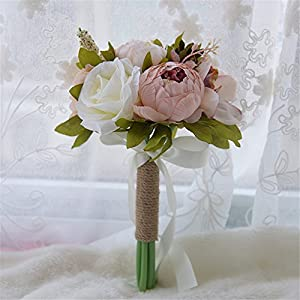 S-SSOY Artificial Romantic Wedding Bouquet, Bridesmaid Holding Bouquet Bride Bridal Bouquets, Rose Bouquet for Wedding Party Church Valentine's Day Birthday Photo Shooting 46